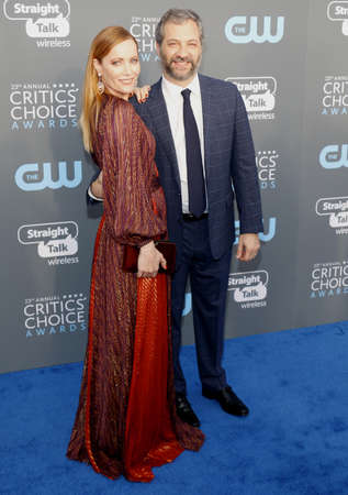Leslie Mann and Judd Apatow at the 23rd Annual Critics Choice Awards held at the Barker Hangar in Santa Monica, USA on January 11, 2018. Editorial