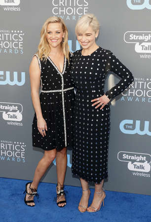Emilia Clarke and Reese Witherspoon at the 23rd Annual Critics Choice Awards held at the Barker Hangar in Santa Monica, USA on January 11, 2018. Editorial