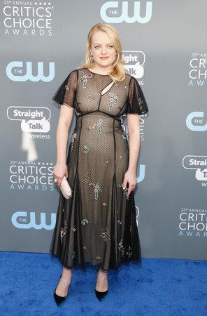 Elizabeth Moss at the 23rd Annual Critics Choice Awards held at the Barker Hangar in Santa Monica, USA on January 11, 2018.