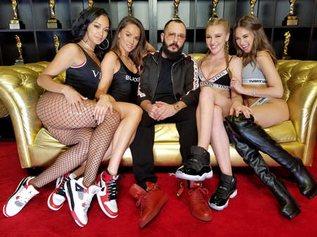 Harley Dean, Tori Black, Greg Lansky, Kendra Sunderland and Riley Reid at the 2018 AVN Adult Entertainment Expo held at the Hard Rock Hotel and Casino in Las Vegas, USA on January 27, 2018.