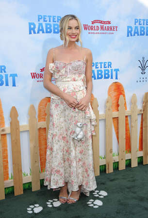 Margot Robbie at the Los Angeles premiere of Peter Rabbit held at the Grove in Los Angeles, USA on February 3, 2018.