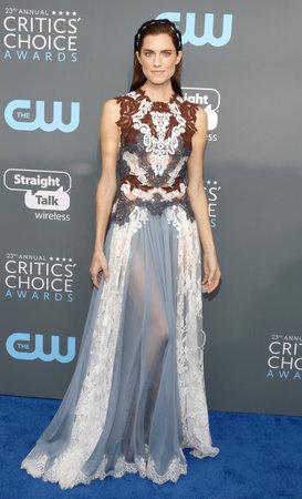 Allison Williams at the 23rd Annual Critics Choice Awards held at the Barker Hangar in Santa Monica, USA on January 11, 2018.