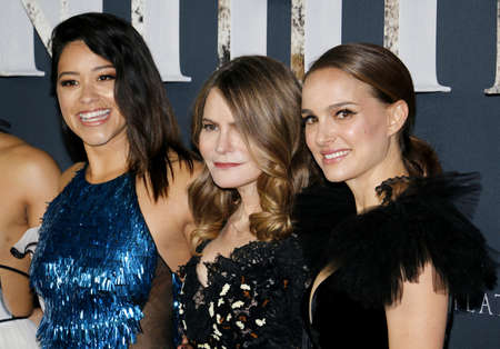 Gina Rodriguez, Jennifer Jason Leigh and Natalie Portman at the Los Angeles premiere of Annihilation held at the Regency Village Theater in Westwood, USA on February 13, 2018.