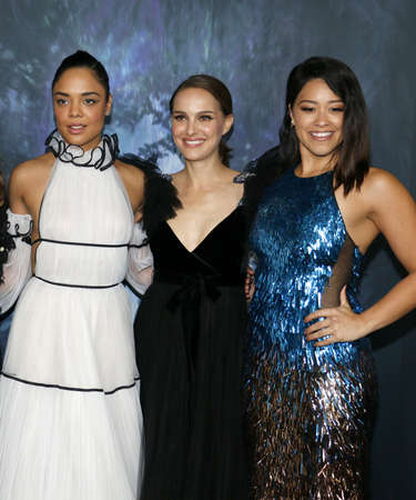 Tessa Thompson, Natalie Portman and Gina Rodriguez at the Los Angeles premiere of Annihilation held at the Regency Village Theater in Westwood, USA on February 13, 2018. Editöryel