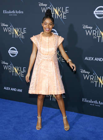 Yara Shahidi at the Los Angeles premiere of A Wrinkle In Time held at the El Capitan Theater in Hollywood, USA on February 26, 2018.