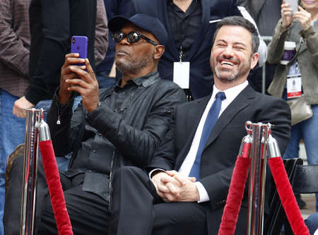 Jimmy Kimmel and Samuel L. Jackson at Lionel Richie Hand And Footprint Ceremony held at the TCL Chinese Theatre in Hollywood, USA on March 7, 2018.