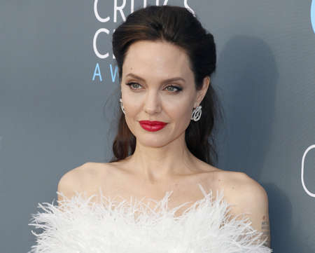 Angelina Jolie at the 23rd Annual Critics' Choice Awards held at the Barker Hangar in Santa Monica, USA on January 11, 2018. Редакционное