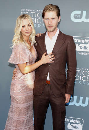 Kaley Cuoco and Karl Cook at the 23rd Annual Critics Choice Awards held at the Barker Hangar in Santa Monica, USA on January 11, 2018.