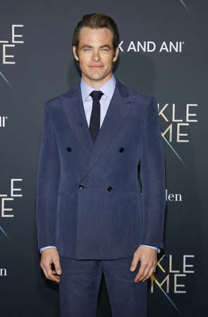 Chris Pine at the Los Angeles premiere of A Wrinkle In Time held at the El Capitan Theater in Hollywood, USA on February 26, 2018.