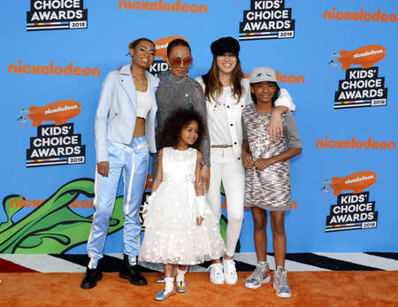 Mel B, Madison Brown Belafonte, Angel Iris Murphy Brown and Phoenix Chi Gulzar at the Nickelodeon's 2018 Kids' Choice Awards held at the Forum in Inglewood, USA on March 24, 2018.