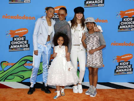 Mel B, Madison Brown Belafonte, Angel Iris Murphy Brown and Phoenix Chi Gulzar at the Nickelodeons 2018 Kids Choice Awards held at the Forum in Inglewood, USA on March 24, 2018.