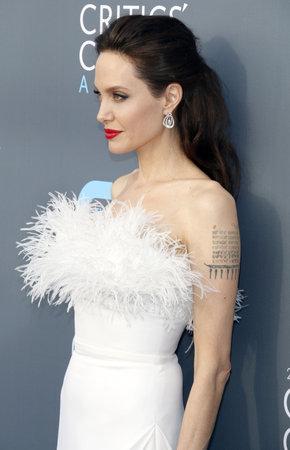 Angelina Jolie at the 23rd Annual Critics' Choice Awards held at the Barker Hangar in Santa Monica, USA on January 11, 2018. 報道画像