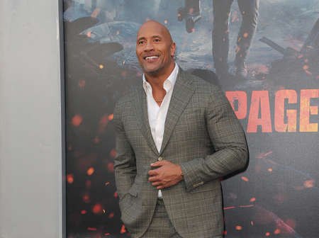 Dwayne Johnson at the Los Angeles premiere of Rampage held at the Microsoft Theater in Los Angeles, USA on April 4, 2018. Redakční