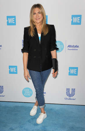 Jennifer Aniston at the 2018 WE Day California held at the Forum in Inglewood, USA on April 19, 2018. 報道画像