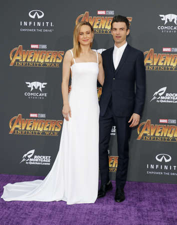 Brie Larson and Alex Greenwald at the premiere of Disney and Marvel's 'Avengers: Infinity War' held at the El Capitan Theatre in Hollywood, USA on April 23, 2018. Redakční