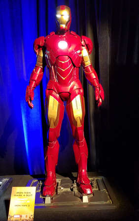 Iron Man mark 6 suit worn by Robert Downey Jr in Iron Man 3. Costume exhibition at the premiere of Disney and Marvel's 'Avengers: Infinity War' held at the El Capitan Theatre in Hollywood, USA on April 23, 2018.