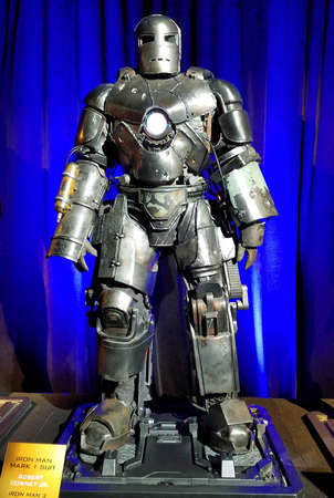 Iron Man mark 1 suit worn by Robert Downey Jr. in Iron Man 3. Costume exhibition at the premiere of Disney and Marvel's 'Avengers: Infinity War' held at the El Capitan Theatre in Hollywood, USA on April 23, 2018.