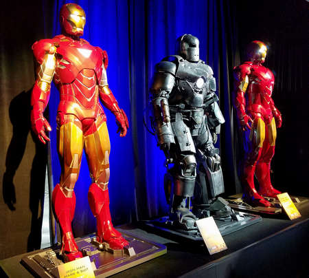 Iron Man suits worn by Robert Downey Jr. Costume exhibition at the premiere of Disney and Marvel's 'Avengers: Infinity War' held at the El Capitan Theatre in Hollywood, USA on April 23, 2018. Sajtókép