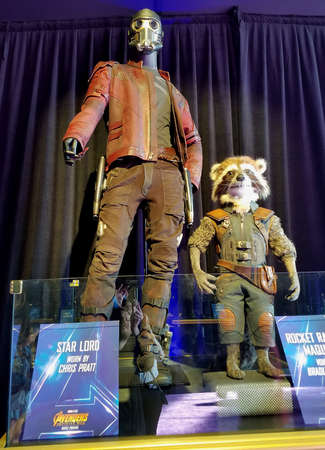 Star Lord costume worn by Chris Pratt. Costume exhibition at the premiere of Disney and Marvels Avengers: Infinity War held at the El Capitan Theatre in Hollywood, USA on April 23, 2018.