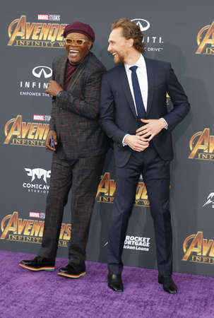 Tom Hiddleston and Samuel L. Jackson at the premiere of Disney and Marvel's 'Avengers: Infinity War' held at the El Capitan Theatre in Hollywood, USA on April 23, 2018.
