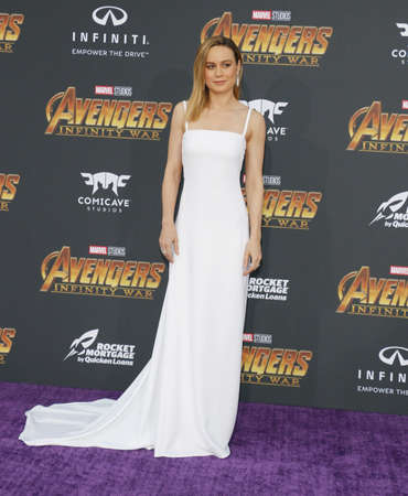 Brie Larson at the premiere of Disney and Marvel's 'Avengers: Infinity War' held at the El Capitan Theatre in Hollywood, USA on April 23, 2018. Redakční