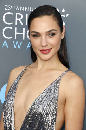 Gal Gadot at the 23rd Annual Critics' Choice Awards held at the Barker Hangar in Santa Monica, USA on January 11, 2018.