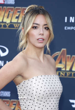 Chloe Bennet at the premiere of Disney and Marvels Avengers: Infinity War held at the El Capitan Theatre in Hollywood, USA on April 23, 2018. Editorial