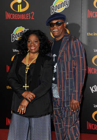 LaTanya Richardson and Samuel L. Jackson at the World premiere of 'Incredibles 2' held at the El Capitan Theatre in Hollywood, USA on June 5, 2018. Editorial
