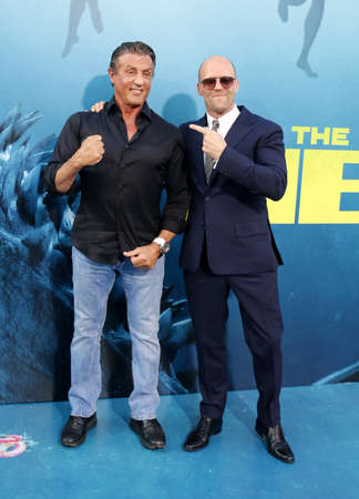 Jason Statham and Sylvester Stallone at the Los Angeles premiere of The Meg held at the TCL Chinese Theatre IMAX in Hollywood, USA on August 6, 2018.