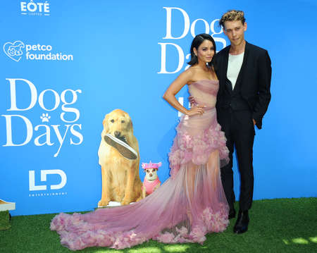Vanessa Hudgens and Austin Butler at the Los Angeles premiere of Dog Days held at the Westfield Century City in Century City, USA on August 5, 2018. Sajtókép