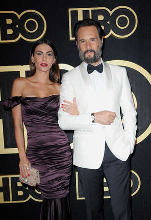 Mel Fronckowiak and Rodrigo Santoro at the HBOs Official 2018 Emmy After Party held at the Pacific Design Center in West Hollywood, USA on September 17, 2018.