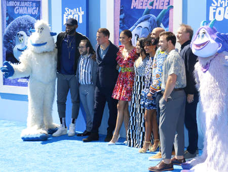 Gina Rodriguez, Common, Zendaya, LeBron James, Channing Tatum, Ely Henry and Yara Shahidi at the Los Angeles premiere of Smallfoot held at the Regency Village Theatre in Westwood, USA on September 22, 2018.