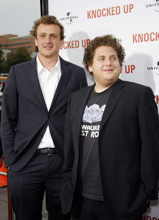 Jonah Hill and Jason Segel at the Los Angeles premiere of Knocked Up held at the Mann Village Theatre in Westwood, USA on May 21, 2007. Редакционное