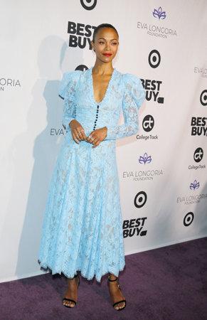 Zoe Saldana at the Eva Longoria Foundation Dinner Gala held at the Four Seasons Hotel in Beverly Hills, USA on November 8, 2018. Editorial
