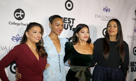 Eva Longoria, Zoe Saldana, Gina Rodriguez and Rosario Dawson at the Eva Longoria Foundation Dinner Gala held at the Four Seasons Hotel in Beverly Hills, USA on November 8, 2018.