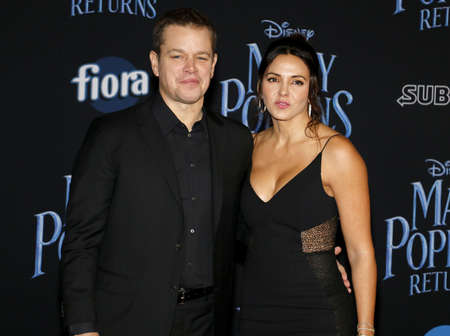 Matt Damon and Luciana Barroso at the World premiere of Disney's 'Mary Poppins Returns' held at the Dolby Theatre in Hollywood, USA on November 29, 2018.