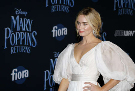 Emily Blunt at the World premiere of Disneys Mary Poppins Returns held at the Dolby Theatre in Hollywood, USA on November 29, 2018.