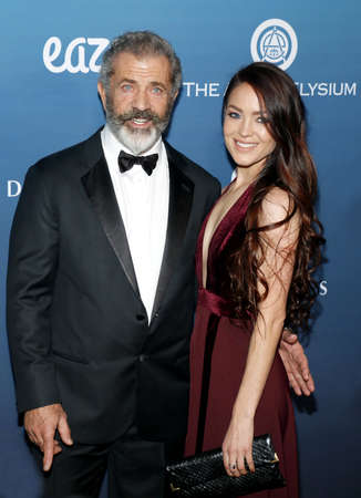 Mel Gibson and Rosalind Ross at the Art Of Elysium's 12th Annual Heaven Celebration held at the Private Venue in Los Angeles, USA on January 5, 2019.