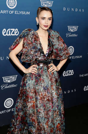 Lily Collins at the Art Of Elysiums 12th Annual Heaven Celebration held at the Private Venue in Los Angeles, USA on January 5, 2019. Sajtókép