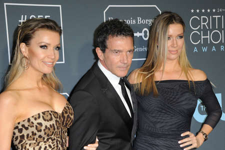 Nicole Kimpel, Antonio Banderas and Barbara Kimpel at the 24th Annual Critics Choice Awards held at the Barker Hangar in Santa Monica, USA on January 13, 2019.