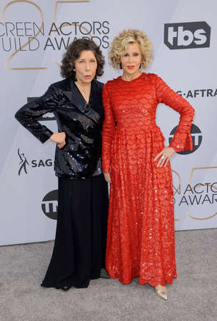 Lily Tomlin and Jane Fonda at the 25th Annual Screen Actors Guild Awards held at the Shrine Auditorium in Los Angeles, USA on January 27, 2019.