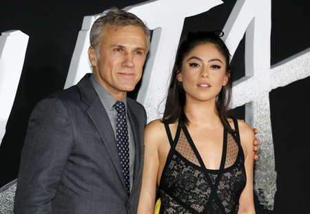 Rosa Salazar and Christoph Waltz at the Los Angeles premiere of Alita: Battle Angel held at the Regency Village Theatre in Westwood, USA on February 5, 2019.
