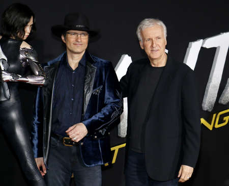 Robert Rodriguez and James Cameron at the Los Angeles premiere of Alita: Battle Angel held at the Regency Village Theatre in Westwood, USA on February 5, 2019.