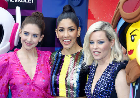 Alison Brie, Stephanie Beatriz and Elizabeth Banks at the Los Angeles premiere of 'The Lego Movie 2: The Second Part' held at the Regency Village Theatre in Westwood, USA on February 2, 2019. Redakční