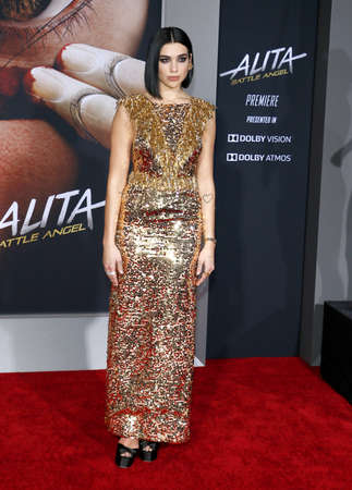 Dua Lipa at the Los Angeles premiere of Alita: Battle Angel held at the Regency Village Theatre in Westwood, USA on February 5, 2019.