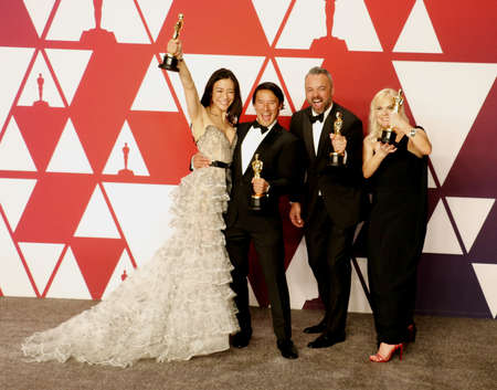 Elizabeth Chai Vasarhelyi, Jimmy Chin, Evan Hayes and Shannon Dill at the 91st Annual Academy Awards - Press Room held at the Loews Hotel in Hollywood, USA on February 24, 2019.