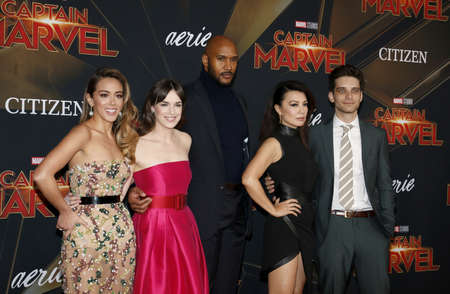 Chloe Bennet, Elizabeth Henstridge, Henry Simmons, Ming-Na Wen and Jeff Ward at the World premiere of Captain Marvel held at the El Capitan Theater in Hollywood, USA on March 4, 2019. 에디토리얼