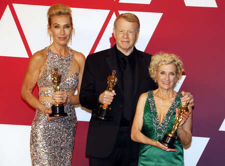 Kate Biscoe, Greg Cannom and Patricia Dehaney at the 91st Annual Academy Awards - Press Room held at the Loews Hotel in Hollywood, USA on February 24, 2019.
