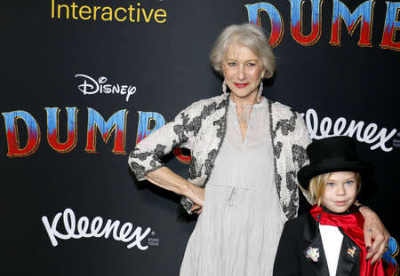 Helen Mirren and Waylon Hackford at the World premiere of Dumbo held at the El Capitan Theatre in Hollywood, USA on March 11, 2019.