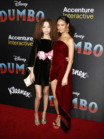 Thandie Newton and Nico Parker at the World premiere of Dumbo held at the El Capitan Theatre in Hollywood, USA on March 11, 2019.